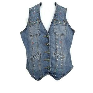 DG2 by Diane Gilman Embellished Denim Jean Vest